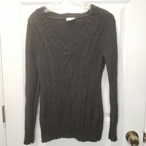 🐞 Columbia Gray Cable Knit Sweater Size XS